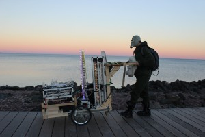 Robot Rickshaw, a human-powered cart of robotic musical instruments created by composer Troy Rogers and Expressive Machines Musical Instruments (EMMI), performs on the Lakewalk in Duluth, MN. Photo credit: Melissa Maki