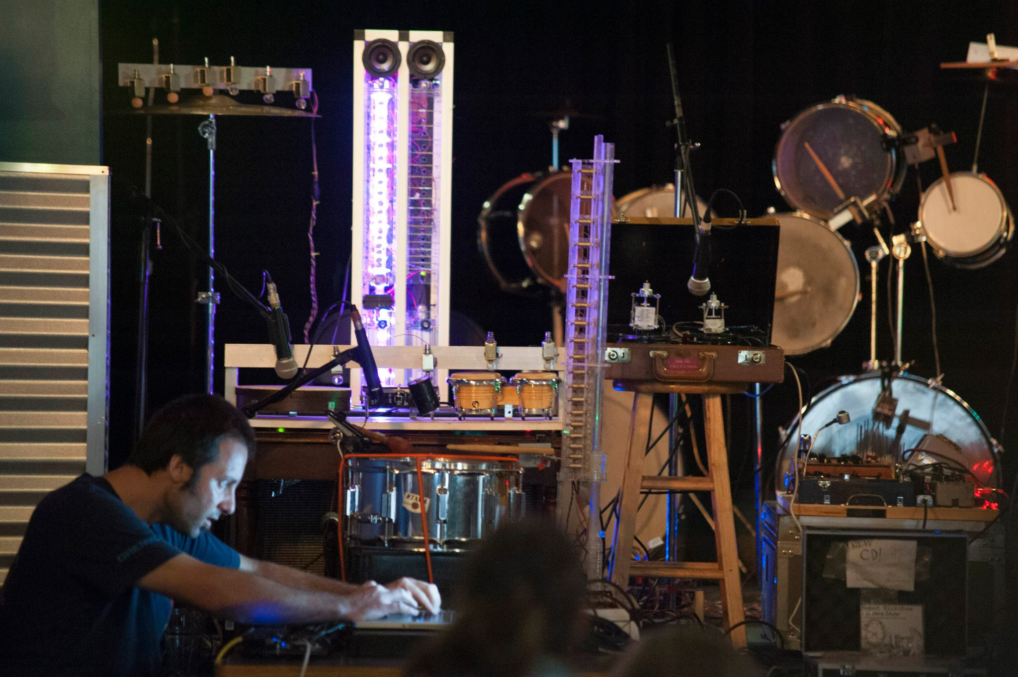 Troy Rogers (aka Robot Rickshaw) performs with his band of robotic musical instruments at Beaner's Central in Duluth, MN.