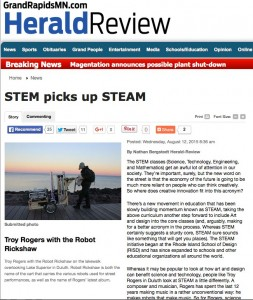 A screenshot of an article in the Grand Rapids Herald Review about upcoming Making Music with Robots workshops conducted by composer Troy Rogers as an example of STEAM (Science, Technology, Engineering, Arts, Mathematics) educational opportunities that promote creative learning and creative innovation.